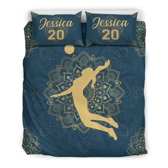 Sportyzen Bedding Set US Queen/Full Volleyball Mandala Custom Duvet Cover Bedding Set with Your Name And Number #405L