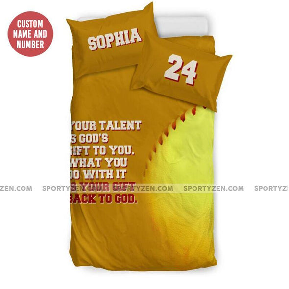 Sportyzen Bedding Set US Twin Back To God Softball Custom Duvet Cover Bedding Set with Your Name and Number #905H