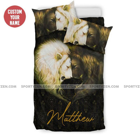 Sportyzen Bedding Set US Twin Lion Couple Custom Duvet Cover Bedding Set With Name #705H