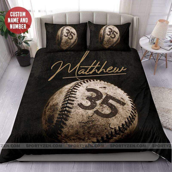 Sportyzen Bedding Set Vintage Baseball Ball Custom Duvet Cover Bedding Set with Your Name #204h