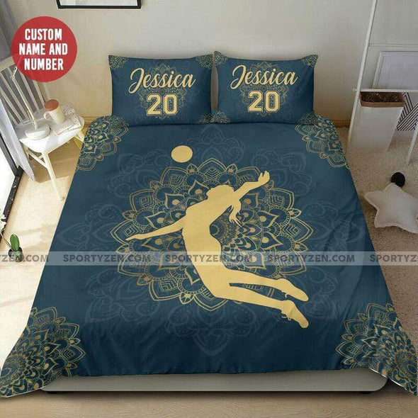 Sportyzen Bedding Set Volleyball Mandala Custom Duvet Cover Bedding Set with Your Name And Number #405L