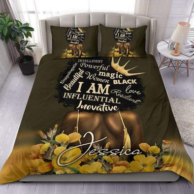 I am Queen Magic Black Women African Personalized Name Duvet Cover Bedding Set #2006v