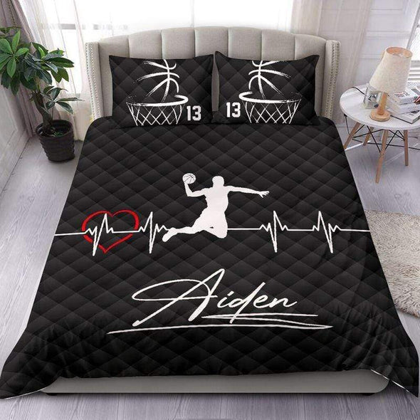 Basketball Heartbeat Personalized Duvet Cover Bedding Set with Your Name #303v