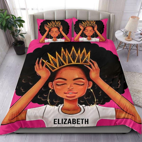 Personalized Black Queen Girl Bedding Personalized Name Duvet Cover Bedding Set #506H