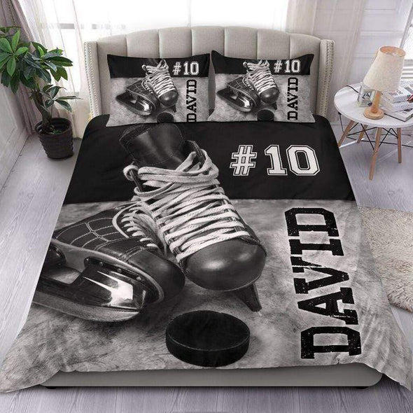 Black Gray Hockey Skate Puck Personalized Duvet Cover Bedding Set with Your Name #208v