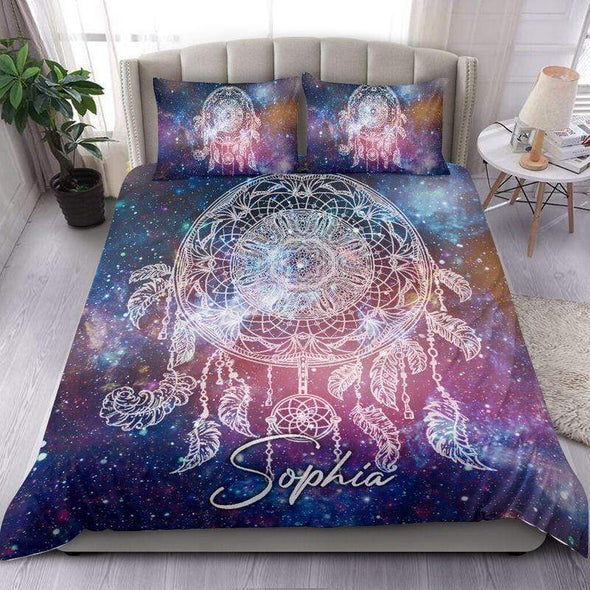 Dreamcatcher Galaxy Bedding Personalized Name Comforter Set Duvet Cover Bedding Set #1606H