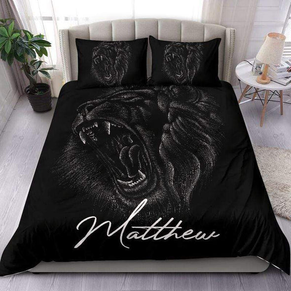 Black Lion Face Art Personalized Duvet Cover Bedding Set with Your Name #90420H