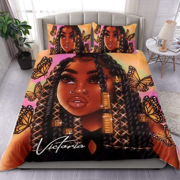 Personalized Black Girl Butterflies Personalized Name Duvet Cover Bedding Set #207H