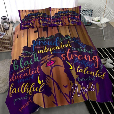 Melanin Black Woman African African Personalized Duvet Cover Bedding Set with Name #1707l