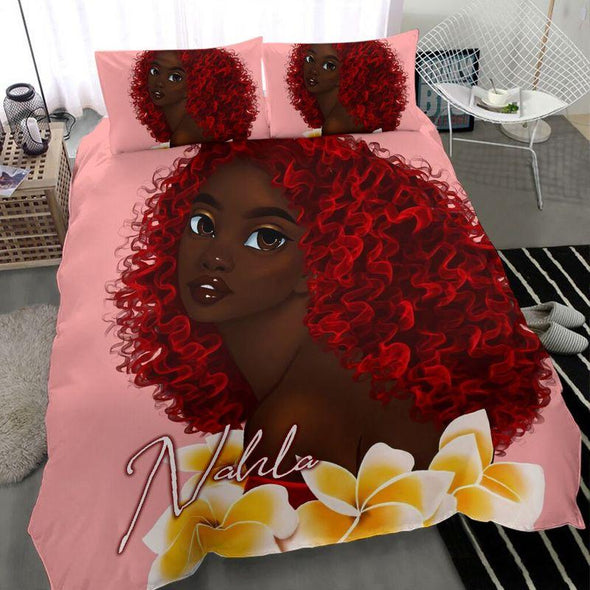 Black Girl Red Hair Personalized name Duvet Cover Bedding Set #2306H