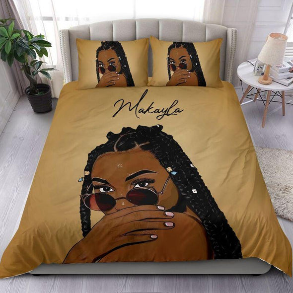 Personalized Black Pretty Hair Girl Sunglasses Bedding Personalized Name Comforter Set Duvet Cover Bedding Set #1806L