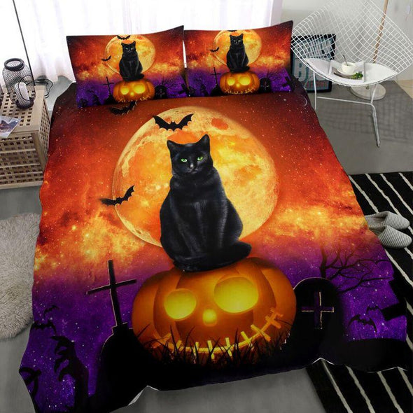 Halloween Black Cat Jack O'lantern Duvet Cover Bedding Set #DH