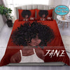 Black Gorgeous Girl In Red Background Bedding Personalized Name Duvet Cover Bedding Set #2407DH