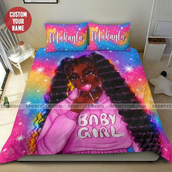 Colorful Long hair Black girl baby girl Pink Personalized name on shirt of Duvet Cover Bedding Set #2606l