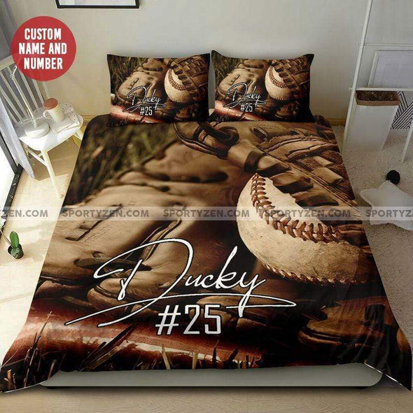 Baseball Ball In Glove Personalized Duvet Cover Bedding Set with Your Name #118l