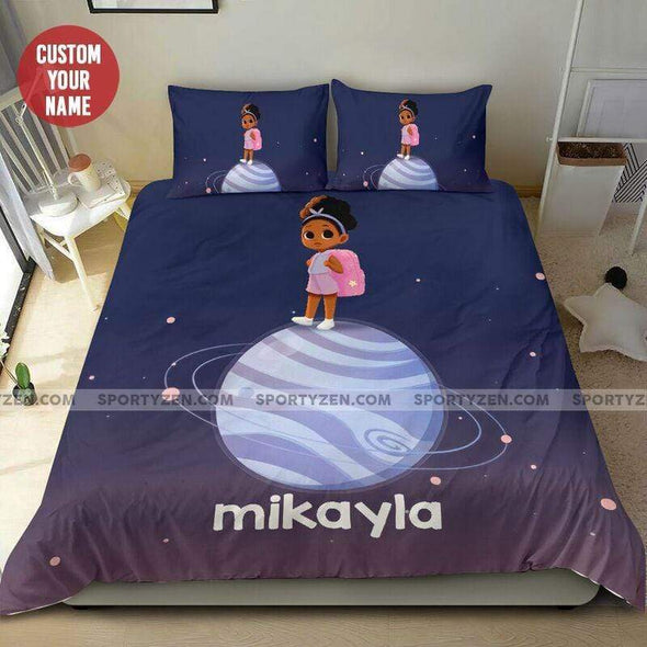 Personalized African Little Black Baby Planet Personalized Name Duvet Cover Bedding Set #0107L