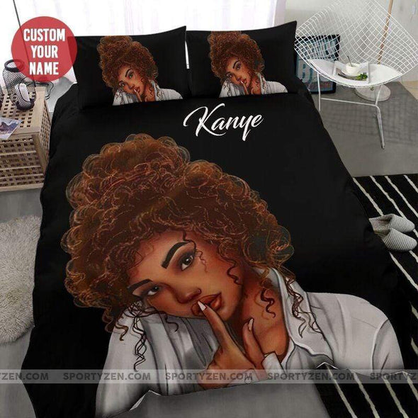 Black Beautiful Girl Hand Lips Personalized Name Duvet Cover Bedding Set #107L