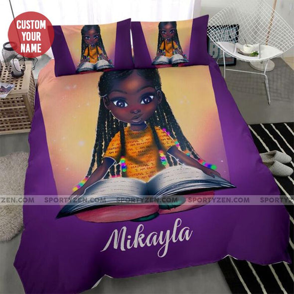 Personalized Black Little Girl Book Personalized name Duvet Cover Bedding Set #606L