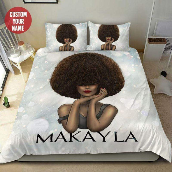 Black Woman Gorgeous Afro Personalized Name Duvet Cover Bedding Set #608L
