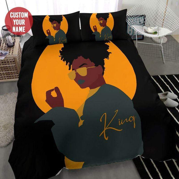 Black girl wear glasses yellow Personalized Name Duvet Cover Bedding Set #237L