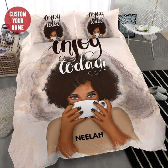 Black Girl Enjoy Today Bedding Personalized Name Duvet Cover Bedding Set #2307L