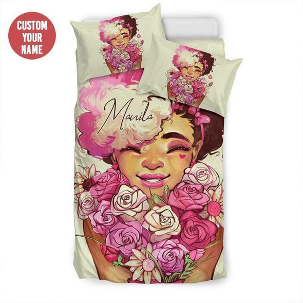 Black girl flowers pink Personalized Name Duvet Cover Bedding Set #237L
