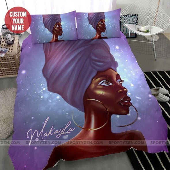 Beautiful Sparkling Traditional Black woman African Personalized Name Duvet Cover Bedding Set #1706l