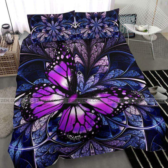Purple Unique Butterfly Duvet Cover Bedding Set #1208L