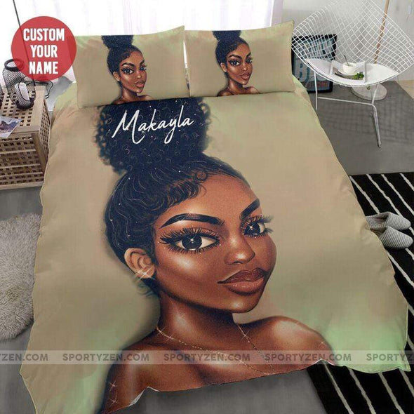 High puff hair Black girl Custom Name  Duvet Cover Bedding Set #2506l