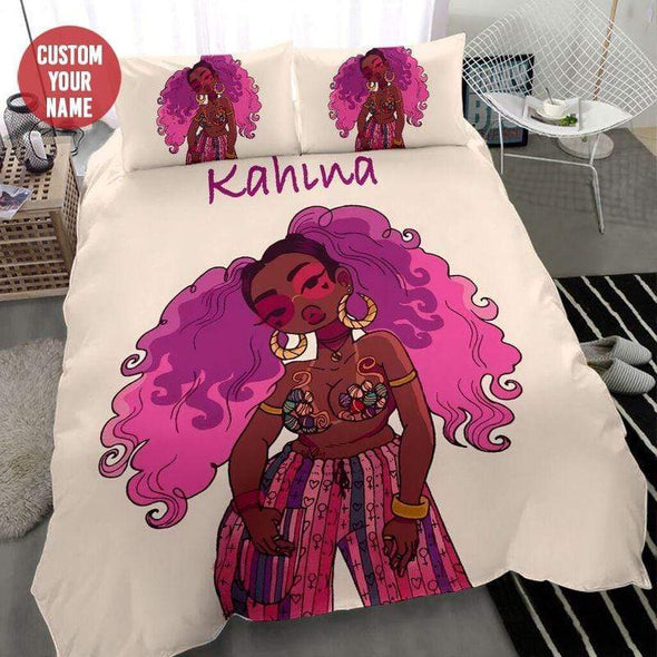 Bad And Boujee Black Girl Pink Hair Personalized Name Duvet Cover Bedding Set #188l