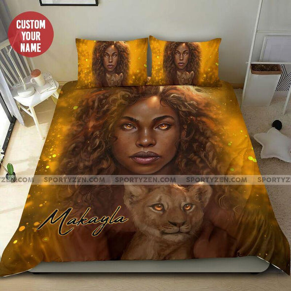Personalized Black Girl And Tiger Personalized name Duvet Cover Bedding Set #2606L