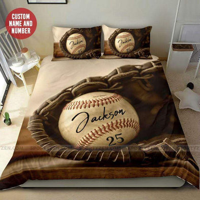 Baseball Ball in Glove Personalized Duvet Cover Bedding Set with Your Name #68l