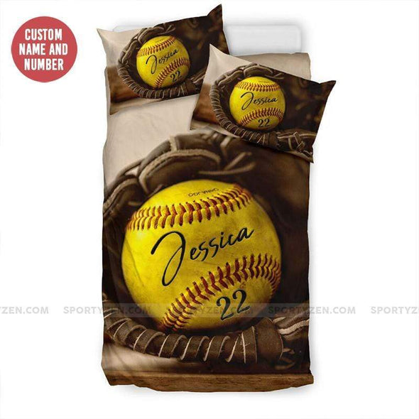 Softball Glove and Ball Personalized Duvet Cover Bedding Set with Your Name #0508l
