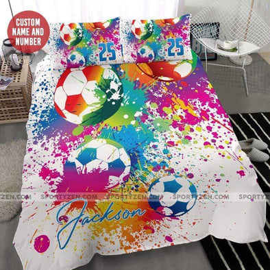 Soccer Colorful Personalized Duvet Cover Bedding Set with name #0606l