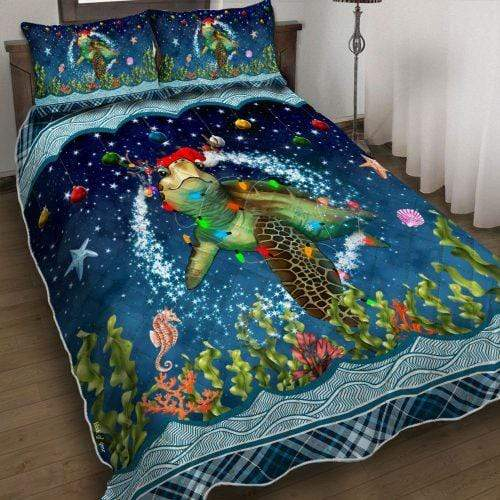 Christmas Turtle Personalized Name Duvet Cover Bedding Set #H