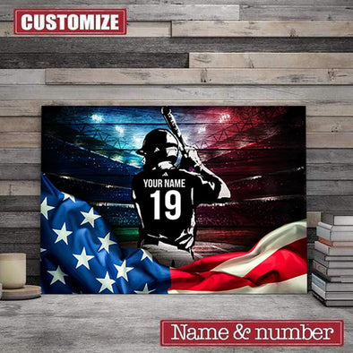 Baseball player Flag American Custom name & number Canvas Prints #H