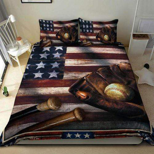 American Flag Baseball Duvet Cover Bedding Set with your name & number #H