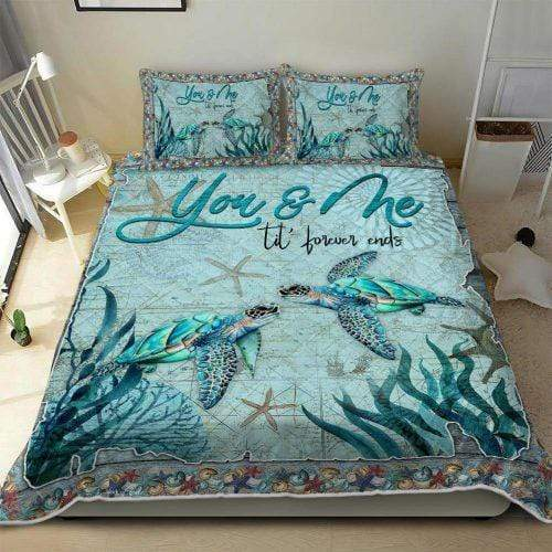 Turtle Couple You And Me Til' Forever Ends Personalized Name Duvet Cover Bedding Set #H