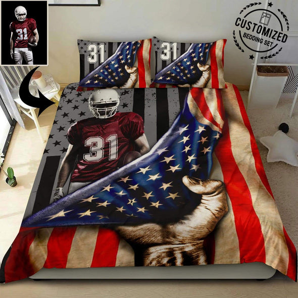 American Football Player Under Flag Personalized Duvet Cover Bedding Set with Your Name