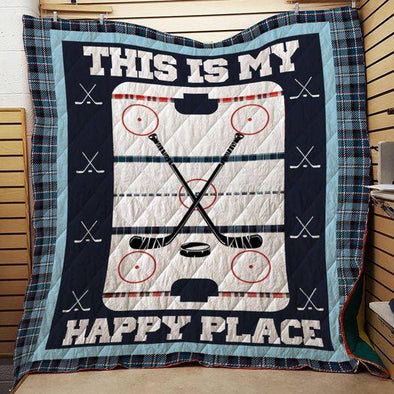 This is my happy place Hockey Quilt Blanket