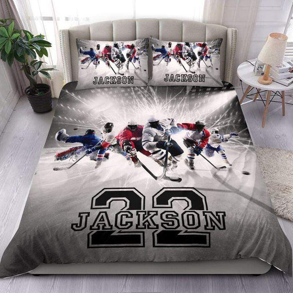 Personalized Ice Hockey Team Duvet Cover Bedding Set Personalized Name Number #1908L