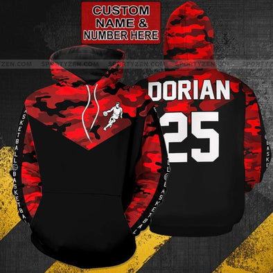 Sportyzen Hoodie 3D Personalized Red Camo Soccer Hoodie 3D All over print with Your Name And Number #605V