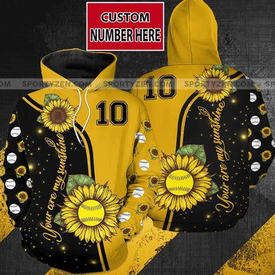 Sportyzen Hoodie 3D Personalized Sunflower Softball Hoodie 3D All over print with Number #705V
