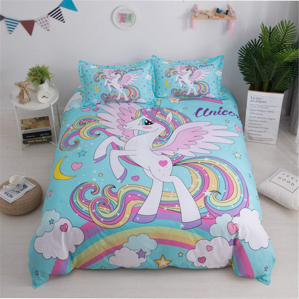 Personalized Duvet Cover Personalized Cute Unicorn Rainbow Bedding Set With Your Name #V