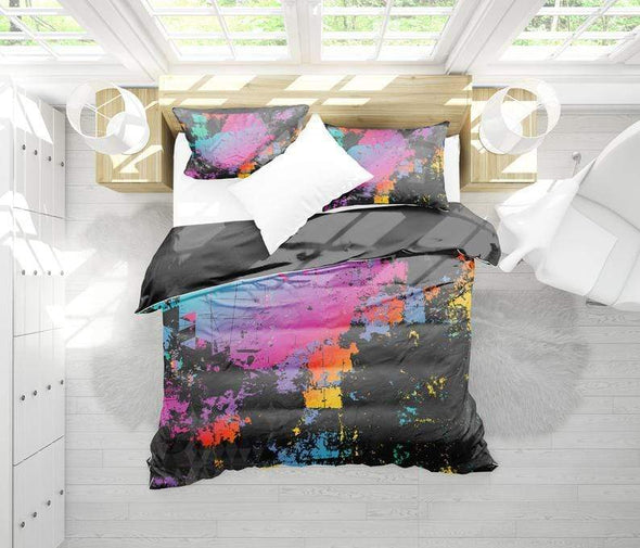Colorful Abstract Art Black Duvet Cover Bedding Set