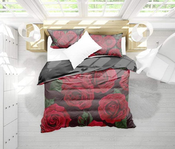 Red Roses Flowers Floral Black Personalized Name Duvet Cover Bedding Set