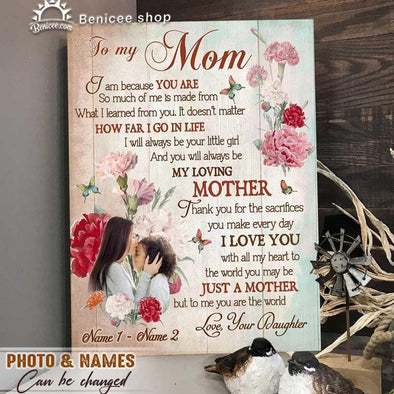 Personalized Mother's Day Gift To My Mom Custom Photo Name Canvas Prints Wall Art #L