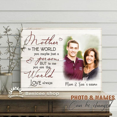 Personalized Mother's Day Gift Mom Is The World To Me Custom Name Photo Canvas Wall Art #H