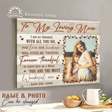 Personalized Mother's Day Gift Loving Mom Custom Name Photo Canvas Wall Art #H