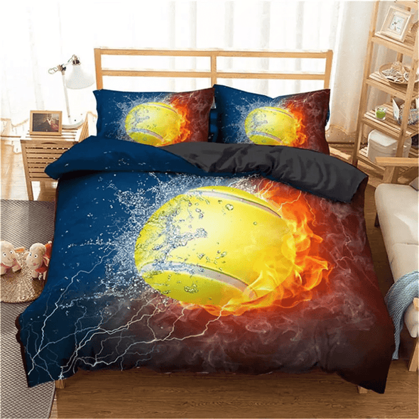 Tennis Personalized Duvet Cover Bedding Set with Name #V